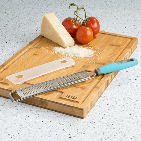 Tasty Stainless Steel Handheld Zester Grater with Blade Guard, Tasty Blue