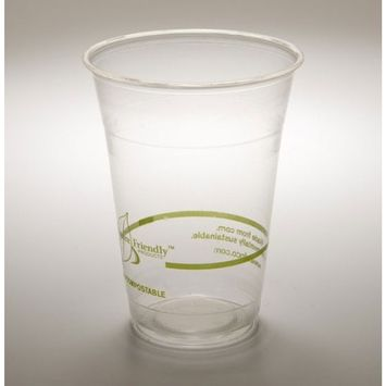 16 Oz. PLA Clear Corn Plastic Biodegradable Cold Cup (Case of 1000)