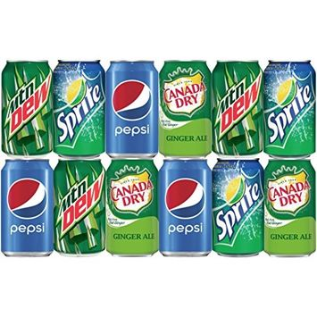 Soda Assorted of Mountain Dew, Sprite, Ginger Ale and Pepsi. Restock your Mini Fridge with 12 pack