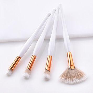 Makeup Brush, Ragdoll50 4 Pcs Makeup Brush Set Gold Tube Fan-shaped Soft Brush Cosmetics Tool, Professional Women Makeup Brushes Soft Foundation Powder Mask Brush for All Consistencies (Powder, Creams