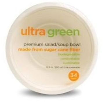 Ultra Green All Purpose Bowl 16.9 oz. 34 count Plateware Made from 100% sugarcane fiber