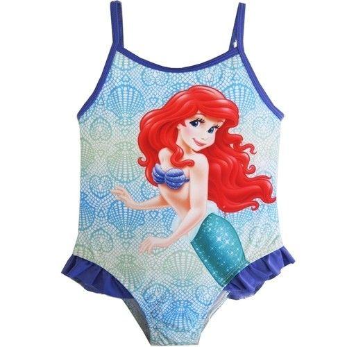 Baby Girls Sky Blue Purple Little Mermaid One Piece Swimsuit 12-24M