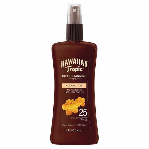 Hawaiian Tropic Tanning Oil Pump Spray, SPF 25, 8 Ounce - Pack of 3 [SPF 25]