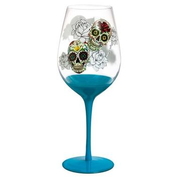 Evergreen Enterprises, Inc Day of the Dead 28 oz. Stemmed Wine Glass