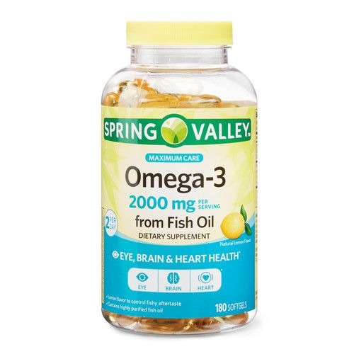 Spring Valley Omega-3 from Fish Oil Maximum Care, 2000 mg Omega-3, 180 Softgels