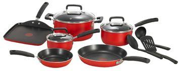 T-Fal Signature Titanium Nonstick Cookware, 12 piece Set, Red
