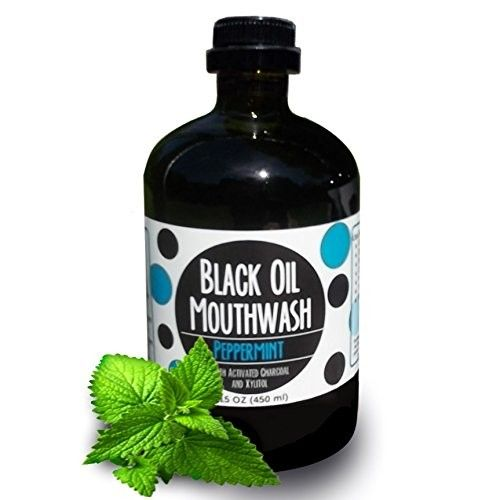 Black OIl Mouthwash, Coconut + Sesame + Avocado Oil Super Blend, 15 oz Glass Bottle. Activated Charcoal & Xylitol for Oil Pulling. Sweet Peppermint. Whitening, bad breath, dry mouth & remineralization