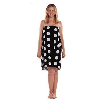 Cotton Terry Velour Polka Dot Spa, Bath, Pool, Gym Towel Body Wrap with Adjustable Velcro
