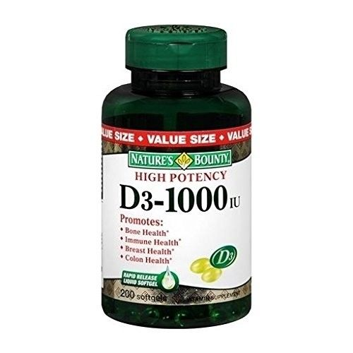 Nature's Bounty D3-1000 IU Softgels 250 CP - Buy Packs and Save (Pack of 2)