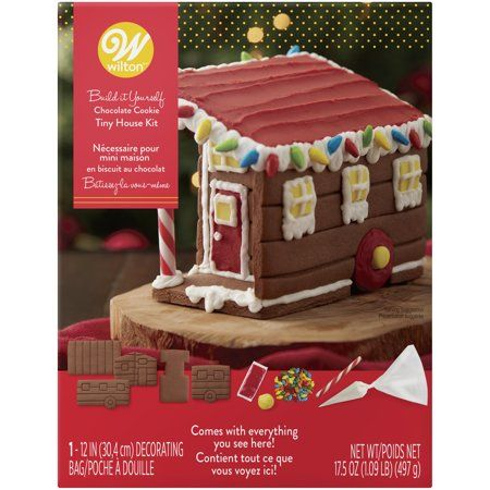 Wilton Build-it-Yourself Chocolate Cookie Tiny House Decorating Kit, Gingerbread Activity