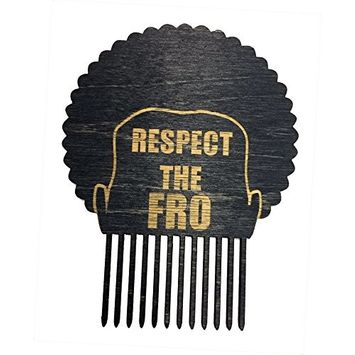 Respect The Fro - Men's Man Novelty Hair Comb Pick - 3D Laser Engraved - Great for Afros