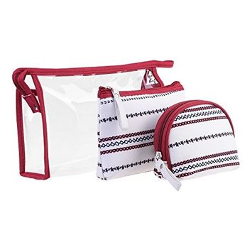 BCP set of 3 pcs PVC & Fabric Cosmetic Travel Makeup Bag Pouch Case Holder Organizer Purse Pouch Bag (White & Red)