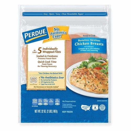 Perdue, Boneless Skinless Chicken Breasts Individually Wrapped, 2 lb (Frozen)