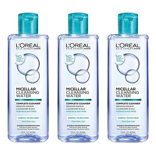 L'Oreal Paris Micellar Cleansing Water, Oily Skin Facial Cleanser & Makeup Remover, 3 count [Micellar Cleansing Water]