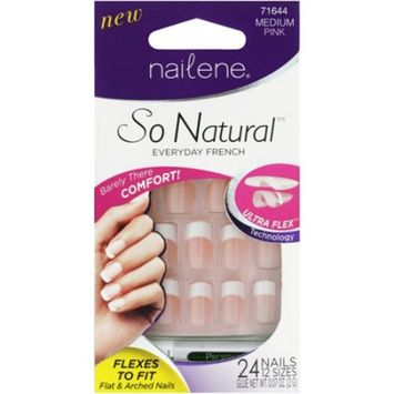 Nailene So Natural Ultra Flex Nail, Pink French Medium, 28 Count