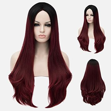 Beshiny Ombre Dark Red Wigs Two Tones Synthetic Dark Roots Long Natural Straight Wigs Heat Resistant Fiber Hair Full Wigs For Women 28""