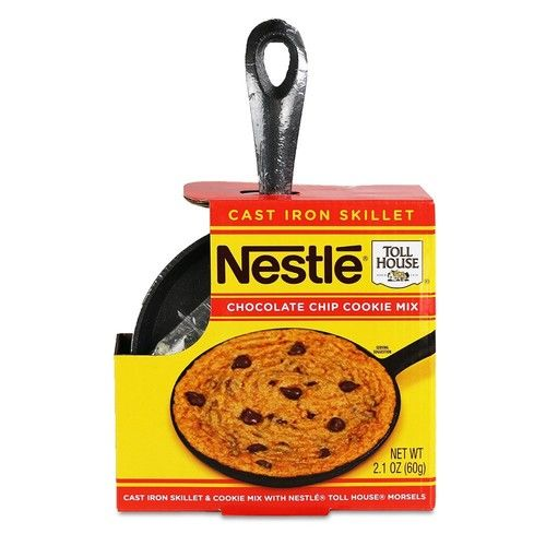 """Nestle Toll House Individual-Size Chocolate Chip""""Pizza Cookie"""" Kit: Includes Cookie Mix and Mini Cast Iron Skillet for Fun & Tasty Personal Dessert for Birthdays, Special Occasions, or Just Because"""
