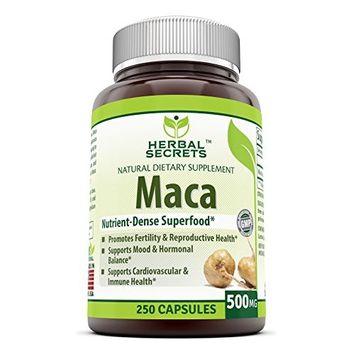 Herbal Secrets Maca 500 Mg 250 Veggie Capsules (Non-GMO) - Supports Reproductive Health, Mood, Hormonal Balance, Cardiovascular Health & Immune Health*