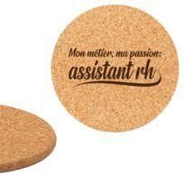 Dessous de plat en liège 18cm gravé métier passion assistant rh