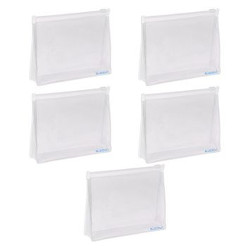 BCP 5 PCS Small PVC Transparent Plastic Cosmetic Organizer Bag Pouch With Zipper Closure,Travel Toiletry Makeup Bag 6 x 4.5 Inch