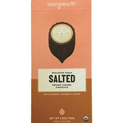 Loving Earth, Wholefood Vegan SALTED, Organic Caramel Chocolate, 2.5 oz, Pack of 9