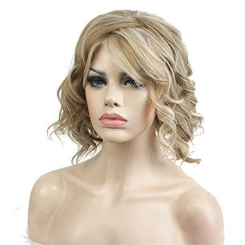 Aimole Short Wavy Blonde Wig Heat Resistant Full Synthetic Wigs with Irregular Part Women's Hair