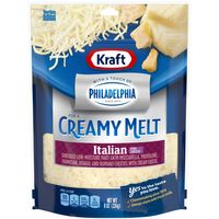 Kraft Shredded Italian Five Cheese Blend With a Touch of Philadelphia, 8 oz Bag