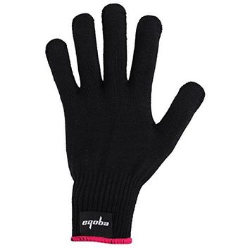 Eqoba Heat Resistant Flat Iron Glove, Professional Anti-Burn Protection Black Glove Pink Cuff