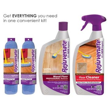 Rejuvenate Professional Wood Floor Restorer Satin Non-Toxic Easy Mop On Application With Floor Cleaner and 2 Micro Fiber Mop Bonnets 4 Piece Kit