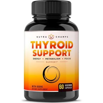 Thyroid Support Complex with Iodine for Energy, Metabolism & Focus - Vegetarian, Non-GMO, Soy & Gluten Free Supplement with Vitamin B12, Ashwagandha, Kelp, Zinc, Selenium, Copper & More
