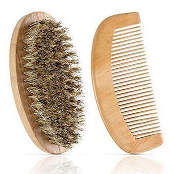 Lotus.flower 2Pcs Men Boar Hair Bristle Beard Mustache Brush Comb Hard Oval Wood Handle