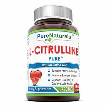 Pure Naturals L-Citrulline Dietary Supplement - 750mg - 180 Capsules - Promotes Healthy Circulation and Cardiovascular Health - Supports Sexual Well-Being - Enhances Endurance