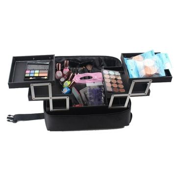 LOUISE MAELYS Large 3 Layers Makeup Artist Train Case for Travel Cosmetic Tote Handbag Shoulder Bag - 4 Trays