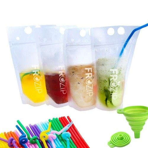 Deluxe 50-Pcs Disposable Drink Container Set by FroZip – Drink Pouches W/Gusset Bottom & Reclosable Zipper for Cold & Hot Drinks – Non-Toxic, BPA & Phthalate Free – 50 Straws & Funnel Included