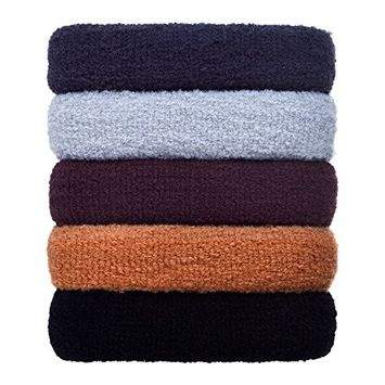 eBoot 5 Pieces Large Hair Ties Bands Rope Seamless Cotton Stretch Ponytail Holders Headband for Thick Heavy Long and Curly Hair