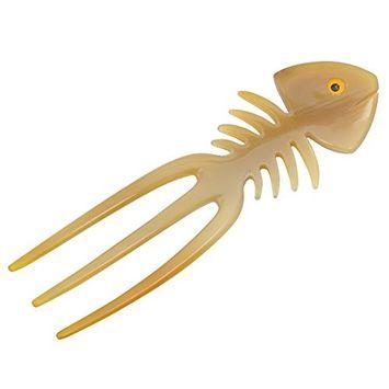 Marycrafts decoration fish bone buffalo horn hair accessories for women 3 prongs hair fork, hair pin, hair pins