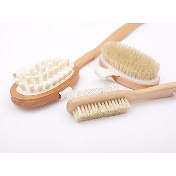Dry Brushing Body Brush LoiStu Body Brush Exfoliating Brush for Glowing Skin, Detachable Long Natural Boar Bristle Body Brush Lymphatic Drainage and Cellulite Massage (3 IN 1)