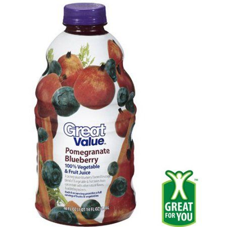 Great Value Pomegranate Blueberry 100% Vegetable & Fruit Juice, 46 oz