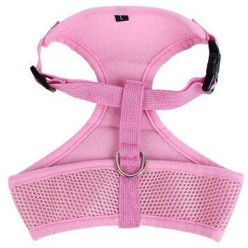 Pink Mesh Style Adjustable Strap Pet Dog Doggie Harness Vest Size M