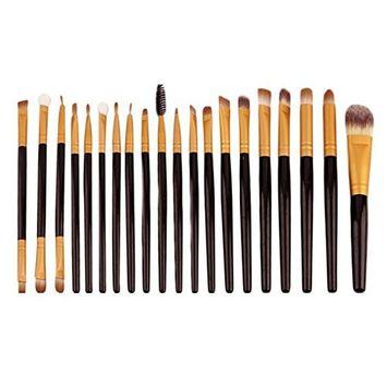 Zinnor Makeup Brush Set, 20Pcs Professional Cosmetic Brushes for Foundation Blending Blush Concealer Eye Shadow, Wooden Handle Makeup Brushes Set Kits Tools, Eyeshadow Brush Set for Girls or Women