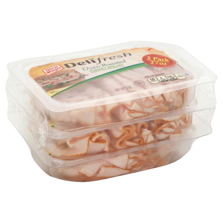 Oscar Mayer Deli Fresh Oven Roasted Turkey Breast Sliced Lunch Meat, 3 ct Pack, 9 oz Trays
