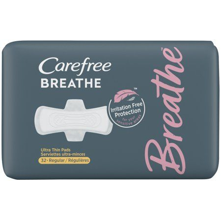 Carefree Breathe Ultra Thin Regular Pads with Wings, Irritation-Free Protection, 32 Count