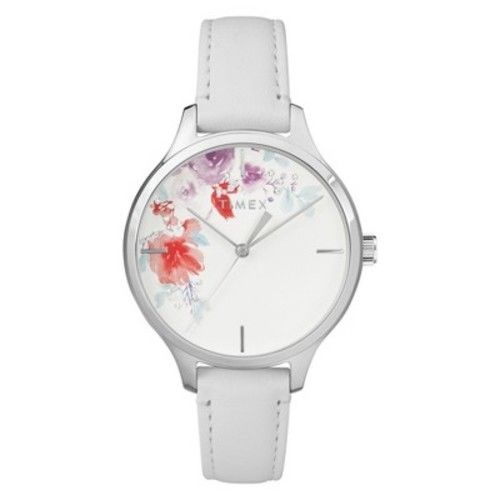 Women's Timex Crystal Bloom Watch with Leather Strap - White TW2R66800JT