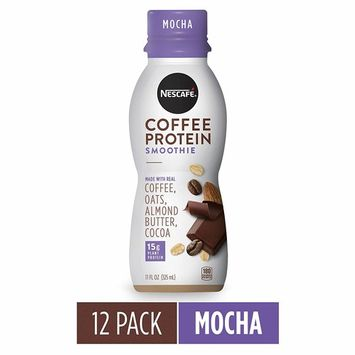 NESCAFÉ Coffee Protein Smoothie, Mocha, 11 FL OZ, 12 Bottles | Plant-Based Protein | Non-Dairy | Arabica Coffee [Mocha]
