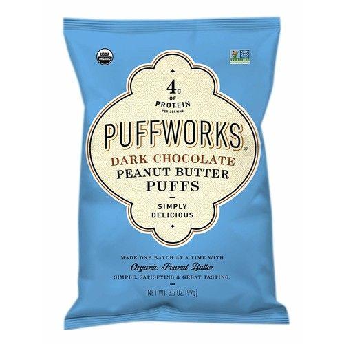 Puffworks Organic Peanut Butter Puffs, Dark Chocolate (Pack of 3) | Non-GMO | Gluten-Free | Kosher | Vegan | Dairy-Free