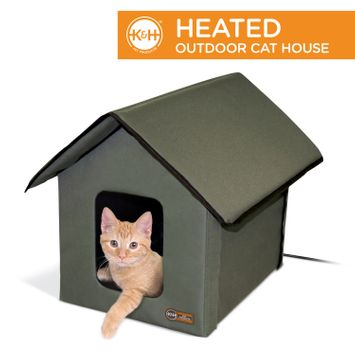 K&H Pet Products Outdoor Heated Kitty House Cat Shelter Olive