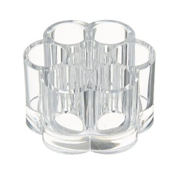 Wefond Acrylic Makeup Brush Stand Holder Flower Shape Clear Cosmetic Organizer Display Storage Box