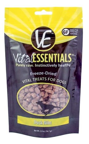 Vital Essentials Freeze-Dried Vital Treats Grain Free Duck Nibs Freeze Dried Dog Treat, 2 oz