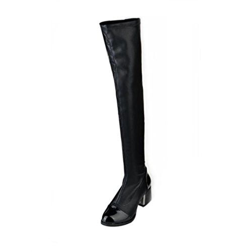 Women Boots, ღ Ninasill ღ Exclusive Leather Over Knee Boots Women Toe Elastic Stretch Thick Heel Boots