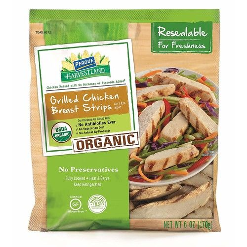 Perdue Harvestland Organic Grilled Chicken Gluten Free Fully Cooked Breast Strips, 0.33 Lb